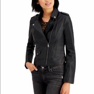 Coffeeshop Juniors' Faux-Leather Moto Jacket Black